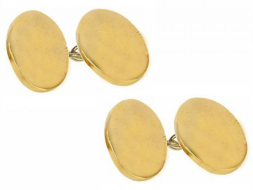 Double Oval Chain Linked Gold Plated Cufflinks